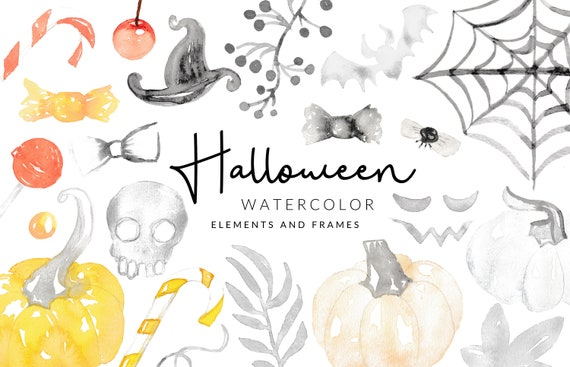 Soft Halloween Watercolor Clipart | Candy and Pumpkins | Digital Download | Separate PNG Elements | Clipart Frames | Yellow Black Clipart