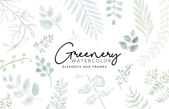 Soft Greenery Watercolor Clipart | Leafs and Stems | Digital Download | Separate Floral PNG Elements | Clipart Frames | Mint Green Clipart