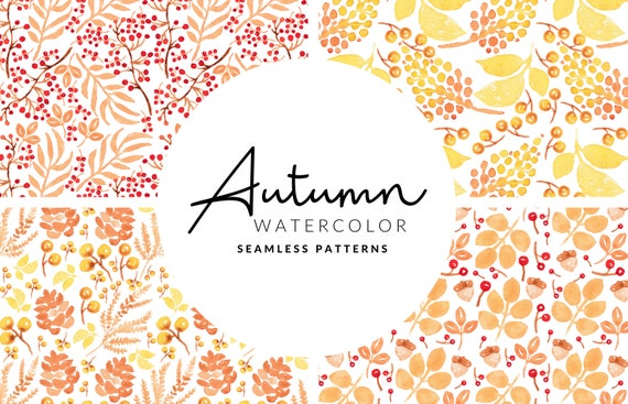 Soft Autumn Seamless Pattern | Watercolor Leafs and Berries | Digital Download | PNG Patterns | Digital Paper | Scrapbook Paper