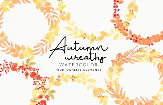 Soft Autumn Wreaths Watercolor Clipart | Handmade Fall & Autumn | Aquarell | Digital Download | Separate PNG Elements |  Floral Wreaths