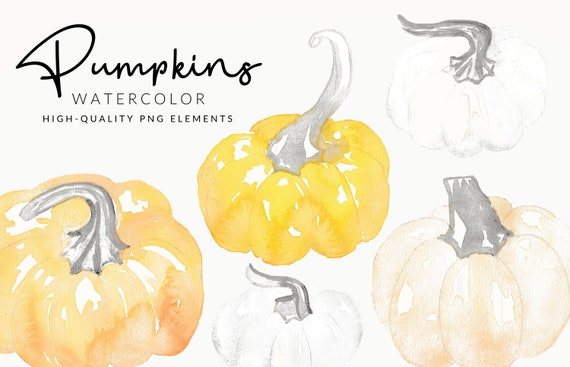 Soft Pumpkin Watercolor Clipart | Handmade Fall & Autumn | Hand Painted Aquarell | Digital Download | Separate PNG Elements | Pastel Clipart