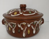 Enamelled brown terracotta pot with lid and handles, abstract 39 70 39 s yellow-white-green designs, terracotta terrine, pottery