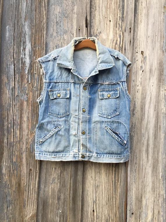 Vintage Ely Denim Snap Cutoff Jacket Vest • Knife