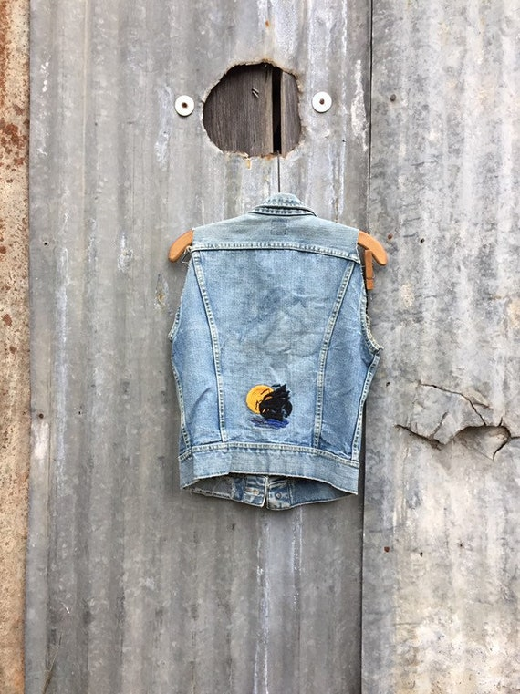 Vintage 50s 60s Lee Denim Vest • Pirate Ship Embro