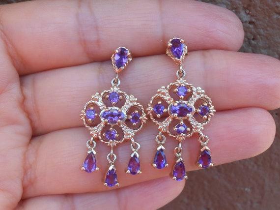 Gold and Amethyst Chandelier Earrings, 10 k Gold A
