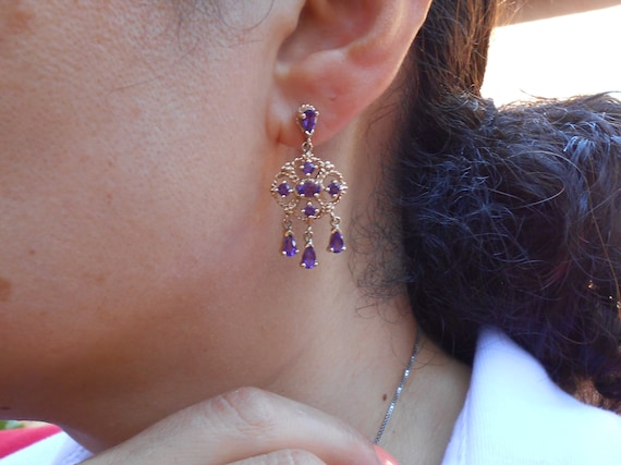 Gold and Amethyst Chandelier Earrings, 10 k Gold … - image 5