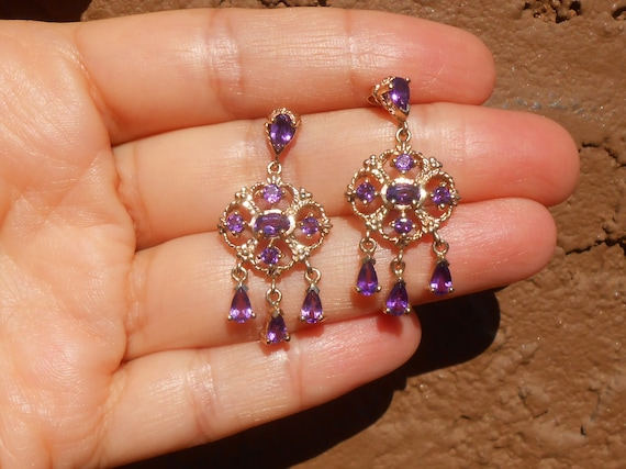 Gold and Amethyst Chandelier Earrings, 10 k Gold … - image 2