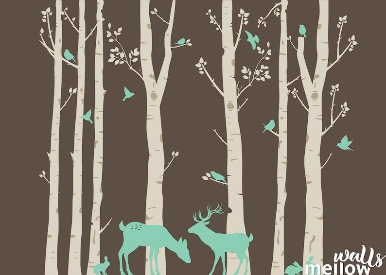 Deer Decals for Kids #6WD Stickers for Children Set of 7 Birch Trees with Deer and Birds Colorful Wall Decals Wall Decor for Kids
