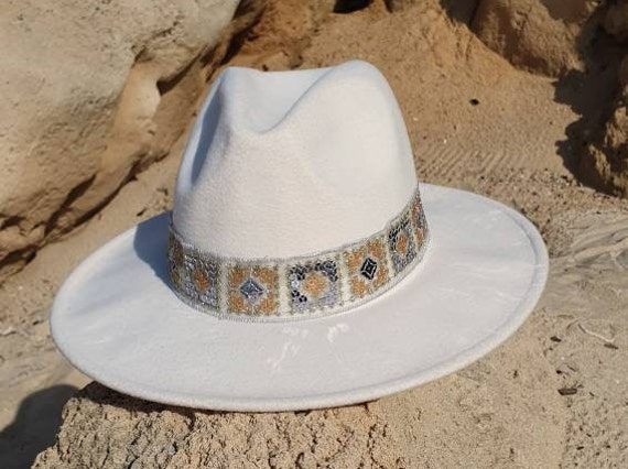 Fedora hat for women Gold trim hat Cream  hatBoho hatwomen hatBeige hat