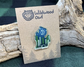 Michigan camping acrylic pin — lower peninsula