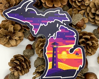 Michigan Lighthouse Sticker