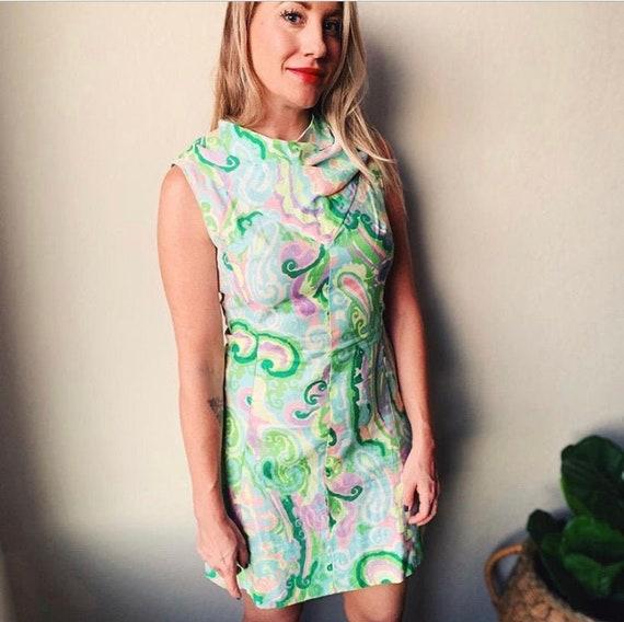60s Vintage   Handmade Sleeveless Mini Dress Mock