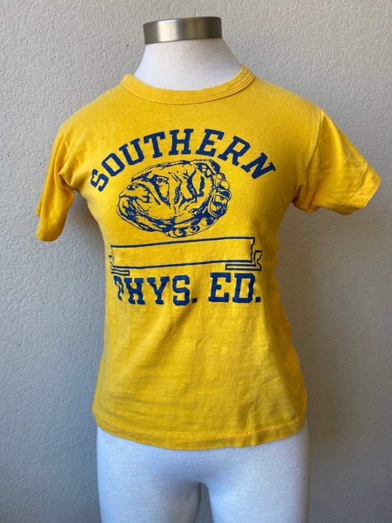 70s Vintage | Yellow & Navy Southern High School T