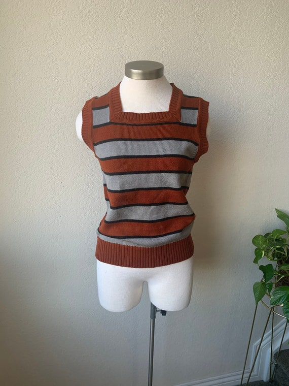 70s-80s Vintage | Square Neck Striped Sweater Vest