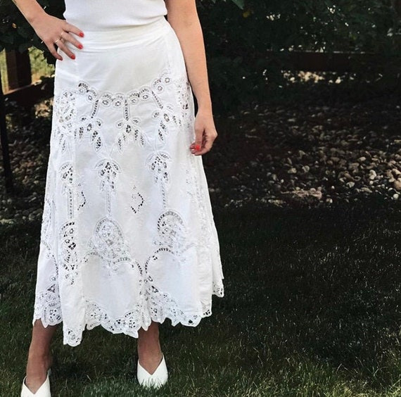 80s-90s Vintage | White Battenberg Lace Maxi Skirt