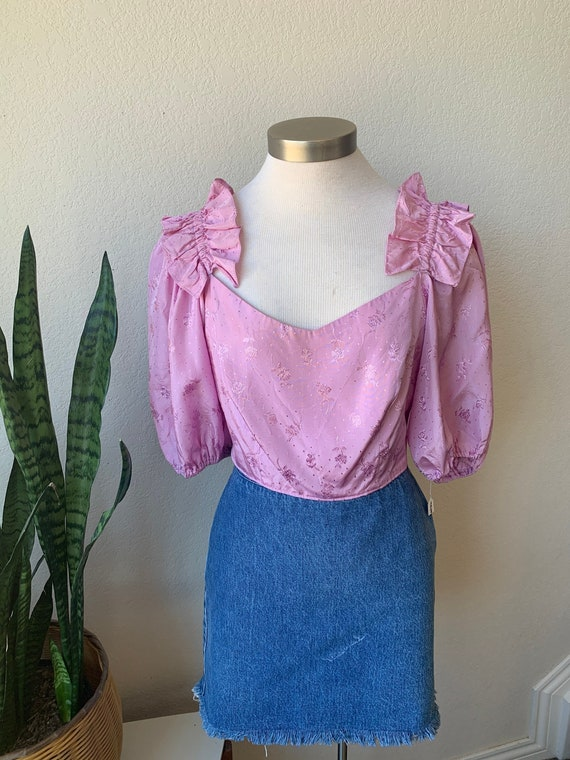 Late 70s Upcycled Vintage   Lilac Ruffle Shoulder… - image 2