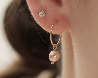 Small Hoop Earrings Pink Pearl Earrings Gold Hoop Earrings Lavender Pearl Earrings Gold Filled Earrings Pearl Hoop Earrings
