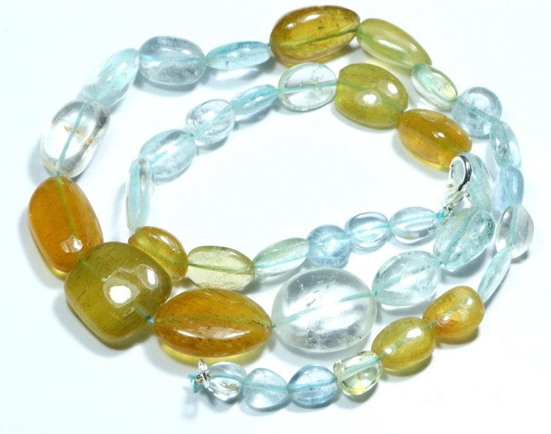 Aquamarine Gemstone Tumble Shape Beads Gemstone 205.40 Ct 16/'/' Inches Aquamarine Beaded Necklace Gemstone Beads Polished Handmade Jewelry