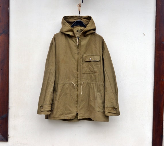 Military canvas anorak Vintage canvas jacket Vinta