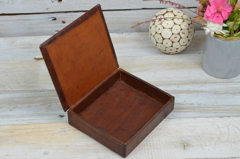 Leather Box Round Leather Box large leather Box Leather Trinket Box UNIQUE Vintage Brown Genuine Leather Box Leather Jewelry Box