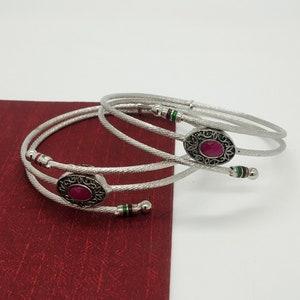 Handmade Wedding Bangles Designer Double Layer Bracelet Indian Bracelet Pink Stone Bracelet Gemstone Bangles Gift Bangles