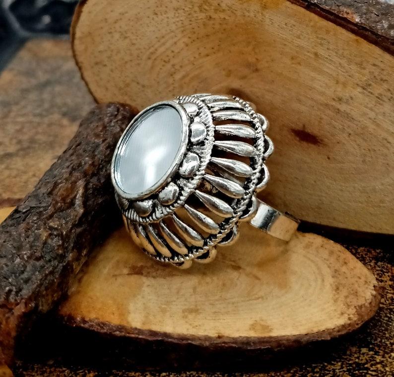 Statement Bohemian Ring Wedding Flower Ring Oxidized Silver Plated Ring Unisex Silver Ring Traditional Adjustable Ring Mirror Ring