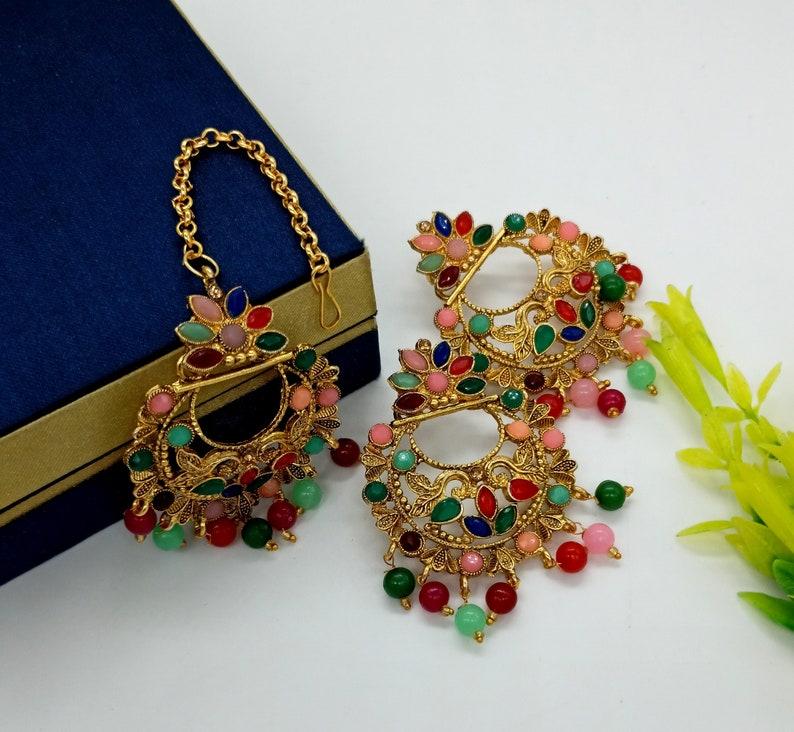 Handmade Jewelry Set For Her -Bollywood Bridesmaid Gift Multi Stone Tikka w Earring Set- Indian Bridal Maang Tikka Teeka Tika Headpiece
