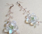 Cherry blossom earrings, handmade, dangle earrings, drop earrings, moonstone, swarovski crystal, miyuki beads,