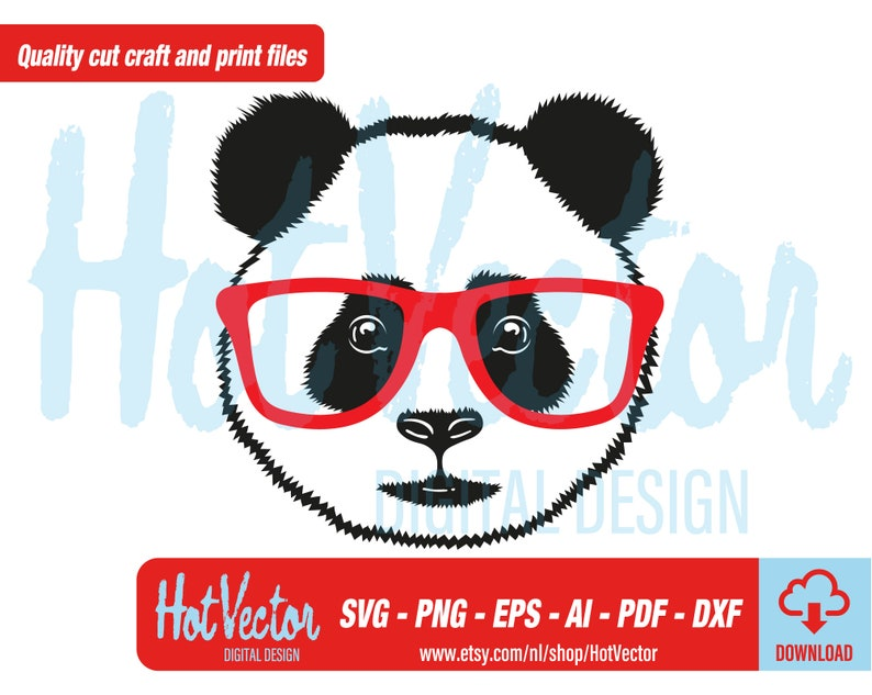svg vector files for personal and commercial use cut clip art file for crafters Cool panda with glasses digital clipart instant download