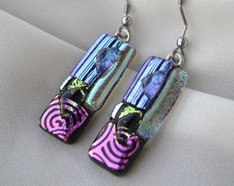 Fused dichroic glass jewelry,dichroic earrings,gifts,handmade,surgical steel,silver,dichroic cabochons,trending jewelry