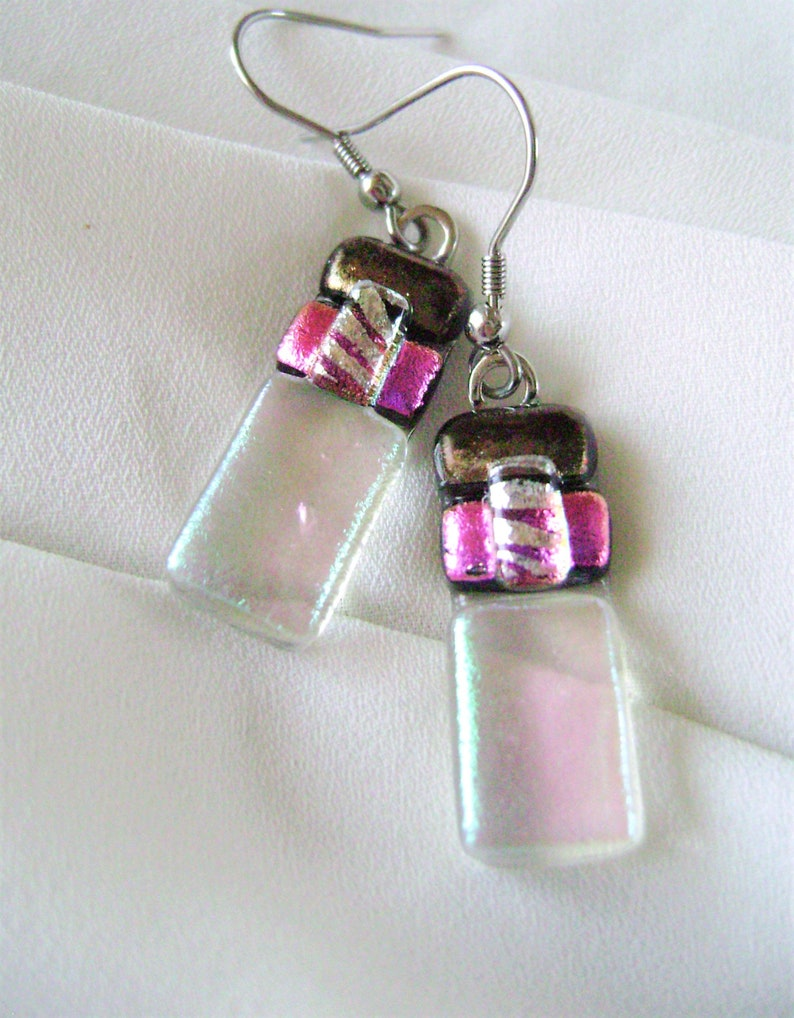 Trendy dichroic glass jewelry,dichroic earrings,gifts,Trending handmade,surgical steel,gold,trending jewelry