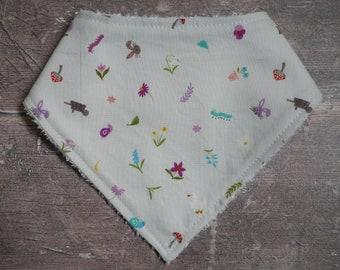 Lilac & grey spring bamboo bandana dribble bib