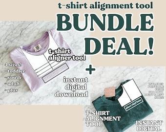 Bundle T-Shirt Maker Alignment Guide Tool / Printable Digital Download curved neckline ruler to help DIY t-shirts / Instant PDF download HTV