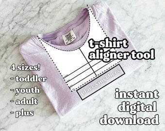 4 in 1 T-Shirt Maker Alignment Guide Tool / Printable Digital Download curved neckline ruler to help DIY t-shirts / Instant PDF download HTV