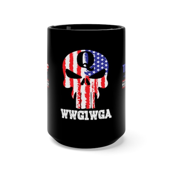 Q Anon Coffee Mug Qanon Punisher Skull Wwg1wga Gift Gift Etsy
