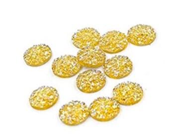 H65 10 Yellow 12mm Resin Druzy Cabochons
