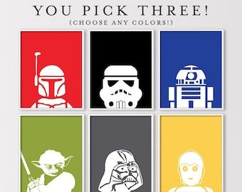 Set of 3 Star Wars Nursery Prints, Kids Star Wars Bedroom Prints, Yoda Print, Boba Fett Art, R2D2 Art, Boys Room Decor, Digital Download