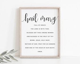 Catholic Art, Hail Mary Print, Hail Mary Wall Art, Catholic Print, Catholic Printable, Minimal Wall Art, Prayer Print, Instant Download