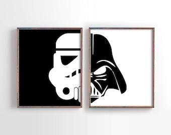 Darth Vader Print, Stormtrooper Art, Kids Galaxy Bedroom Print, Kids Bedroom Printable, Instant Download