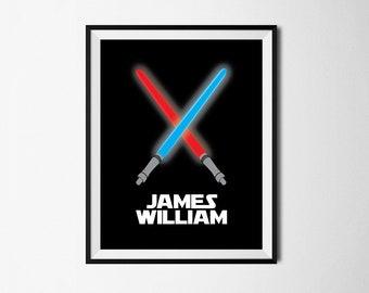 Light Saber Name Print, First Name Printable, Star Wars Kids Room Wall Art, Custom First Name Printable, Lightsaber Print, Instant Download