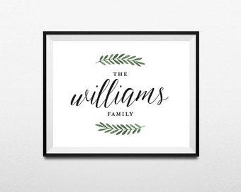 Family Sign Printable Art, Farmhouse Print, Custom Last Name Print, Personalized Family Name Print, Last Name Sign, Digital Download