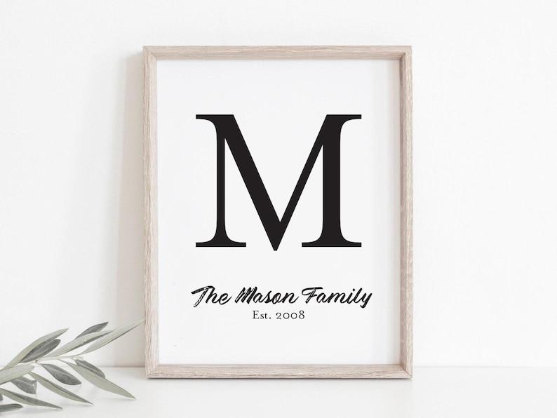 Family Sign Printable Art Farmhouse Print Custom Last Name image 0