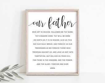 Catholic Art, Our Father Print, Our Father Art, Lords Prayer Print, Catholic Printable, Confirmation Gift, Instant Download