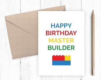 Boys Printable Birthday Card, Boys Birthday Card, Brick Building Card, Master Builder, INSTANT DOWNLOAD