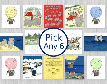 Mailed Babar Prints • Set of 6 • Gender neutral • Baby boy nursery wall art • Elephant baby shower gift for girl • Kids room decor