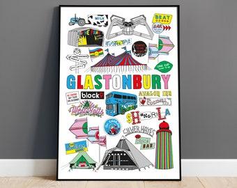 Glastonbury Festival Illustrated Print, Glastonbury Poster, A3 A4 Wall Art