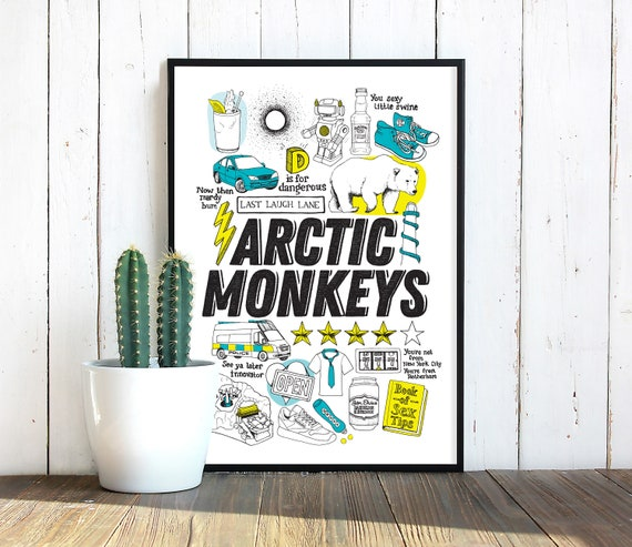 Arctic Monkeys Illustrated Art Print Gift For Music Lovers Etsy