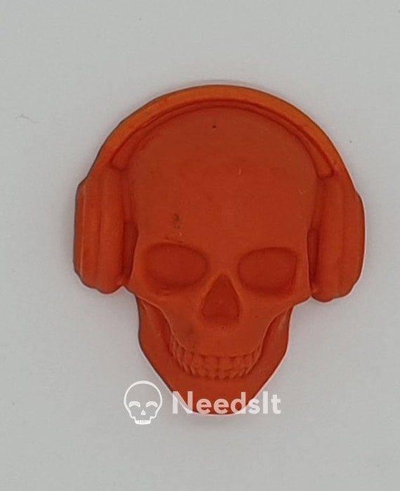 Orange Coral Skull Keychain
