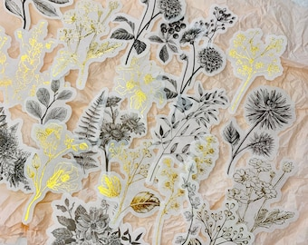 60pcs(20x3) Gold Foil Floral Vellum Die Cut Stickers, Translucent Ephemera Flower Junk Journal Washi Sticker Scrapbook Decoration