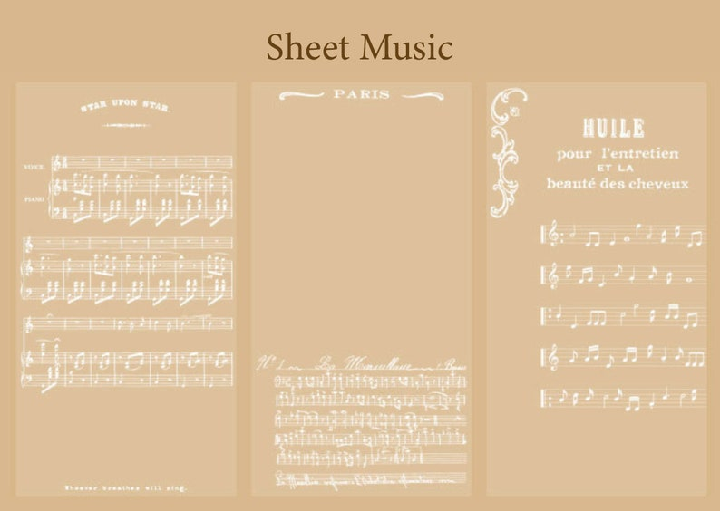 Scrapbook Planner Decoration Junk Journal Bujo Supply Vellum Paper 30 Sheet Sheet Music Celestial Moon Star Vellum Paper Sulfuric Paper